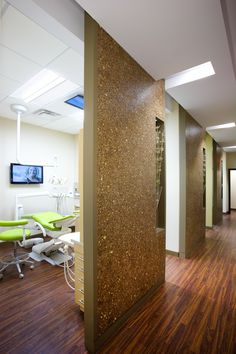 Hallway and Dental Operatory. Note the LED lights in the hallway. The LED LCD tvs on the wall and Ceiling for patient education, viewing radiographs, entertainment  and distraction.