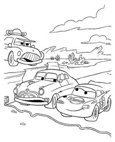 Track Race Cartoon Car Coloring Page