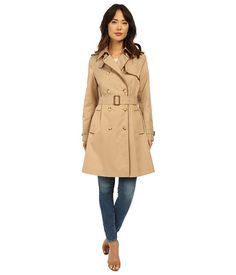 LAUREN Ralph Lauren Trench with Faux Leather Piping