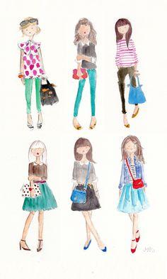 watercolor outfits   jennifer vallez
