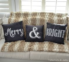 merry and bright free printable pillows (Christmas Pillow Tutorial at Tatertots and Jello)