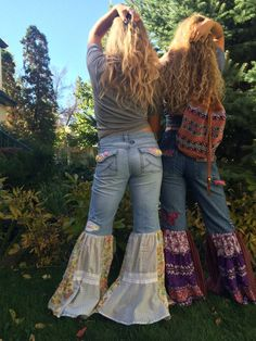 Hippy flare bell jeans Size 9patchwork jeansboho jeans by zasra
