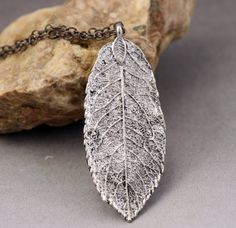 Silver Leaf Necklace  Fall Trends by MiscellaneabyValerie on Etsy
