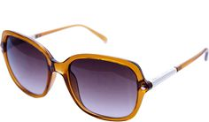 French Connection Ladies FCU656 Hexagon Temple Detail Plastic In Amber Side