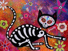 El Gato Cat Dia de los Muertos Original painting 20x16 for sale!