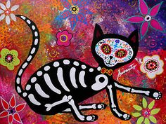 El Gato Cat Dia de los Muertos Original painting 20x16 for sale!