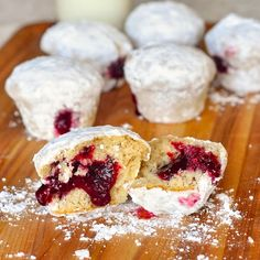 Raspberry Filled Powdered Donut Muffins.... I am allergic to raspberries so would probably substitute cherries :)
