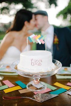 wedding cake with herringbone cake topper // photo by SheaChristine.com // cake topper by MakeMerryEvents.com