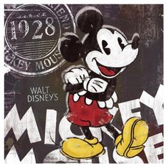 """Mickey Mouse - Art Print / Poster (Vintage Style: 1928) (Size: 16"""" x 16"""") by Posterstoponline, www.amazon.com/..."""