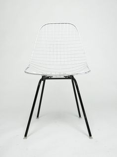 Herman Miller Eames 1960's Wire Desk Dining Task Chair (Black and White…