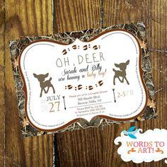 CUSTOM Deer Camouflage Baby Shower Invitations- Boy or Girl- Hunting Season, $14.00