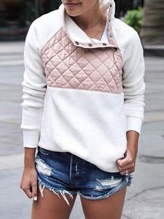 fluffy high neck long sleeve blouse with a patched front and elasticized cuffs