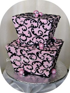 "So pretty I don't even mind its pink ""adult birthday cakes - Graceful Cake Creations"""