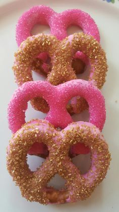 Pink and Gold Chocolate Covered Pretzels - Pink and Gold Sugar Crystals!  Birthday Party, Baby Shower, Wedding Favor, Bridal Shower! by WeareDippinChocolate on Etsy