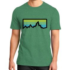 Abstract Mountain Light Invert District T-Shirt (on man)