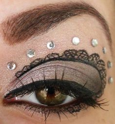 Steampunk makeup, lose the rhinestones and add feather lashes Steampunk Make Up, Steampunk Wedding, Steampunk Costume, Steampunk Nails, Punk Makeup, Makeup Art, Beauty Makeup, Makeup Ideas, Makeup Stuff