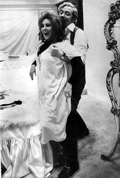 """""""X,Y,zet"""" - Elizabeth Taylor and Michael Caine- 1972.    have fun on the set of Zee and Co., 1972. """""""