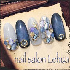 Nail art Christmas - the festive spirit on the nails. Over 70 creative ideas and tutorials - My Nails Blue Nails, My Nails, Japan Nail Art, American Nails, Korean Nails, Kawaii Nails, Wedding Nails Design, Japanese Nails, Halloween Nail Art