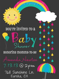 Rainbow Baby Shower Invitation, Rain, Printable file