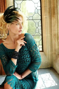 Zelda Pima Cotton Dress. Crochet lace. Stitch pattern charts are shown to achieve a similar look.