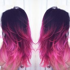 http://www.fohair.com/black-to-pink-mermaid-colorful-ombre-indian-remy-clip-in-hair-extensions-tc1044  #hairextension #haircolor #pinkhair #hairstyle #hairombre