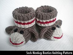 """Designed by myself, these original booties are some of the cutest things I've ever made. Not only are they adorable, but they fit great. They are designed to be stretchy and very comfortable. PERFECT for baby showers or a """"welcome"""" gift for newborns. Looks great in traditional sock monkey colors, or try different color combos to make them even more unique!"""