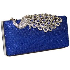 Mesh Rhinestone Peacock Hard Box Clutch ($40) ❤ liked on Polyvore featuring bags, handbags, clutches, purses, accessories, hard clutch, box clutch, rhinestone handbags purses, peacocks handbags and blue purse
