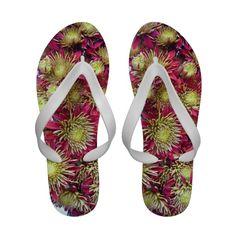 Bright chrysanthemums pattern flip flops