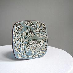 Kilnforms of Columbus Ceramic Trivet - Mid Century Bird in Blue. $48.00, via Etsy.