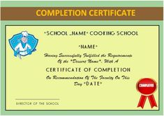basic cooking class completion certificate - Stem Certificate Template