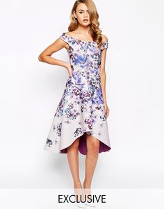True Violet Printed Off Shoulder Prom Dress With High Low Hem At Asos
