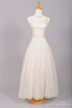 1950 Ruched Chiffon Vintage Wedding Gown