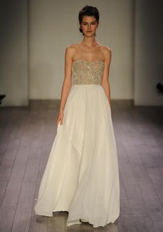 Jim Hjelm strapless wedding dress with gold beaded bodice from Fall 2016 | https://www.theknot.com/content/jim-hjelm-wedding-dresses-bridal-fashion-week-fall-2016