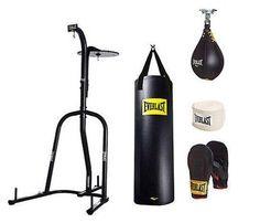 Everlast 100 lb Heavy Punching Boxing Bag Kit Stand Gloves Speed Kicking MMA Gym #Everlast