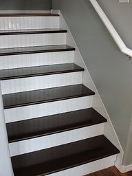 Finished Stairs - Cost breakdown:  This project was time consuming but relatively inexpensive.    Treads-$112  Bead Board-$55  Floor Paint-$28  Trim-$12.50  Stair Nose-$29.00  Laminate Flooring (for the landing)-$30  Total = $270.00   (  do to our basement steps
