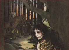 "| Snow White illustrated by Trina Schart Hyman ""She saw a little house and went inside to rest"" 