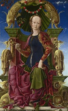 Muse (Calliope?)  by Cosmè Tura        Date painted: probably 1455-60      Oil with egg on poplar
