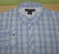 Men's ExOfficio  Fishing Hiking Long Slv Shirt  Sz XL - Blue Plaid -  Nylon Poly #ExOfficio #ButtonFront