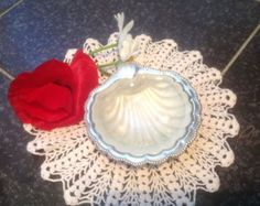 Check out Vintage Silverplate Art Nouveau Soap Dish With Original Frosted Glass Inset   Originally a Butter Dish but A Lovely Item For A Powder Room. on fleursenfrance