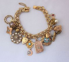 Antique Charm Bracelet, Repurposed Victorian Watch Fob Locket, Enamel Button, Gold Filled, Heart, Rhinestones, Assemblage OOAK Jewelry