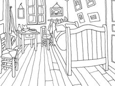 Colouring Page of 'The Bedroom' - Van Gogh Museum