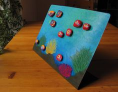 Standing Aquarium - Painted pebbles with magnet on painted iron plate