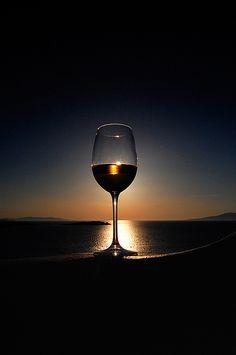 Sunset in a glass ,(mykonos,greece)