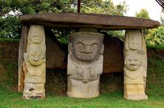 Ancient stone statues at San Agustin - Colombia - Heading South - Colombia Colombian Cities, Colombian Culture, Colombian Art, Colombia Tourism, Colombia Travel, Stone Statues, Ancient Ruins, Ancient History, Ancient Art