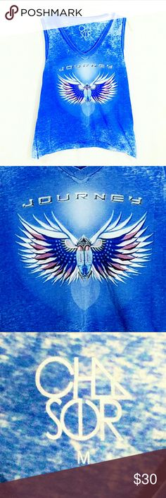 Chaser Burnout Journey Muscle Tank- Medium Gorgeous Chaser Burnout Journey Muscle Tank- Medium. Bright blue burnout oversized tank in perfect condition. Chaser Tops Muscle Tees