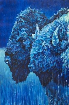 """Daily Painters Abstract Gallery: Colorful Contemporary Animal Art ,Bison Painting, Buffalo """"Date Night"""" by Contemporary Animal Artist Patricia A. Griffin"""