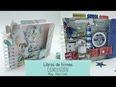 Libros de firmas , Comuniones 2019 - YouTube Logo Reveal, We R Memory Keepers, Punch Board, Book Binding, Scrapbooks, Mini Albums, Mixed Media, Make It Yourself, Holiday Decor