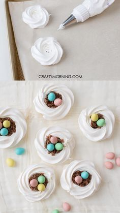 Easter Birds Nest Meringue Cookies- cute easter dessert treat idea for kids and family! Easter Birds Nest Meringue Cookies- cute easter dessert treat idea for kids and family! Cute Easter Desserts, Easter Cupcakes, Easter Cookies, Easter Treats, Easter Recipes, Easter Baking Ideas, Easter Ideas For Kids, Easter Deserts, Bird Cookies