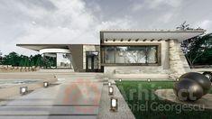 Casa parter 29 | Proiecte de case personalizate | Arhitect Gabriel Georgescu & Echipa Garage Doors, Mansions, House Styles, Outdoor Decor, Home Decor, Houses, Modern Townhouse, Decoration Home, Manor Houses