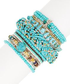 This Howlite & Blue Beaded Stackable Bracelet Set is perfect! #zulilyfinds